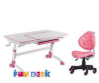Парта для подростка FunDesk Amare Pink + Детское кресло SST5 Pink