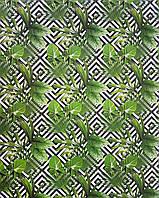 Подарочная бумага (упаковочная) в чёрно белые ромбы с зелёным папоротником