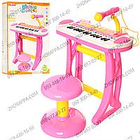 Детскийсинтезатор 3132C, 31 клавиша, в наборе с микрофоном, стульчиком, подставкой, стойкой под микрофон