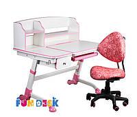 Детская парта для дома FunDesk Amare Pink II с выдвижным ящиком  + Детское кресло SST5 Pink