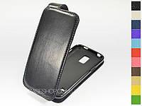 Откидной чехол из натуральной кожи для Samsung G800 Galaxy S5 Mini