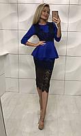 Женское синие платье с юбкой баской короткое с гипюром по колено