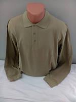Бежевая мужская футболка поло с длинным рукавом