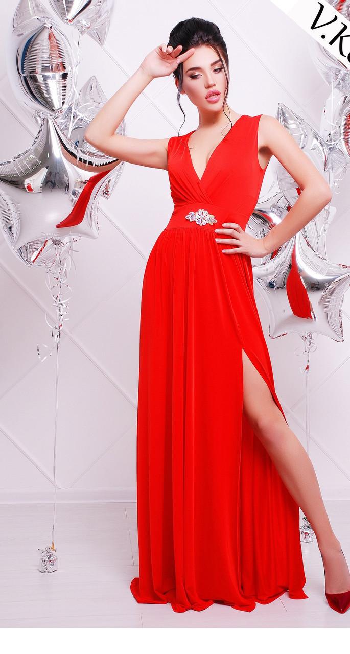 Женское красивое вечернее платье в пол с украшением (5 цветов)