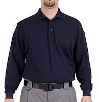 Синяя мужская футболка поло с длинным рукавом