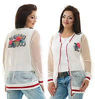 """Летняя женская куртка-бомбер """"DC"""" с с нашивками (большие размеры)"""