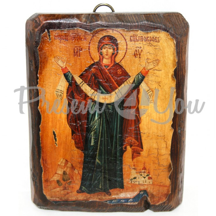 Деревянная икона Покров Пресвятой Богородицы , 17х13 см (814-1013)