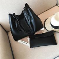 Набор: большая сумка и клатч черный