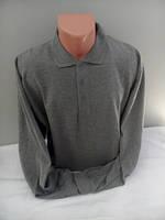 Серая мужская футболка поло с длинным рукавом