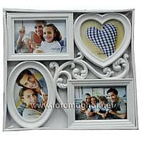 Мультирамка пластиковая  на 4 фото (рамки для фотографий на стену)