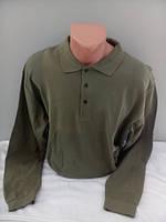 Мужская футболка поло с длинным рукавом оливкового цвета