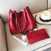 Набор: большая сумка и клатч красный