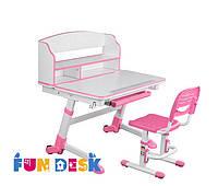 Детская растущая парта для дома FunDesk Volare II Pink + Детский стул SST3 Pink