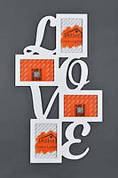 "Рамка "" Love"" на 4 фото, белая"