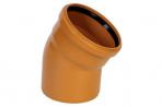 Отвод (колено) ПВХ MPlast с раструбом и уплотнительным кольцом для наружной канализации оранжевый 110х15º