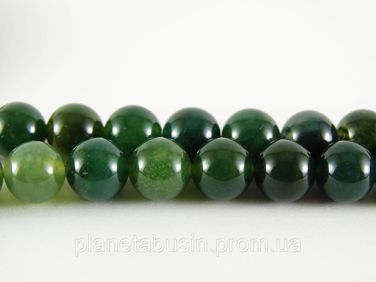 8 мм Моховый Агат, CN195 Натуральный камень, Форма: Шар, Отверстие: 1мм, кол-во: 47-48 шт/нить