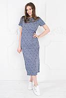 Платье прямое длинное с коротким рукавом