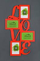 "Рамка "" Love"" на 4 фото, красная"