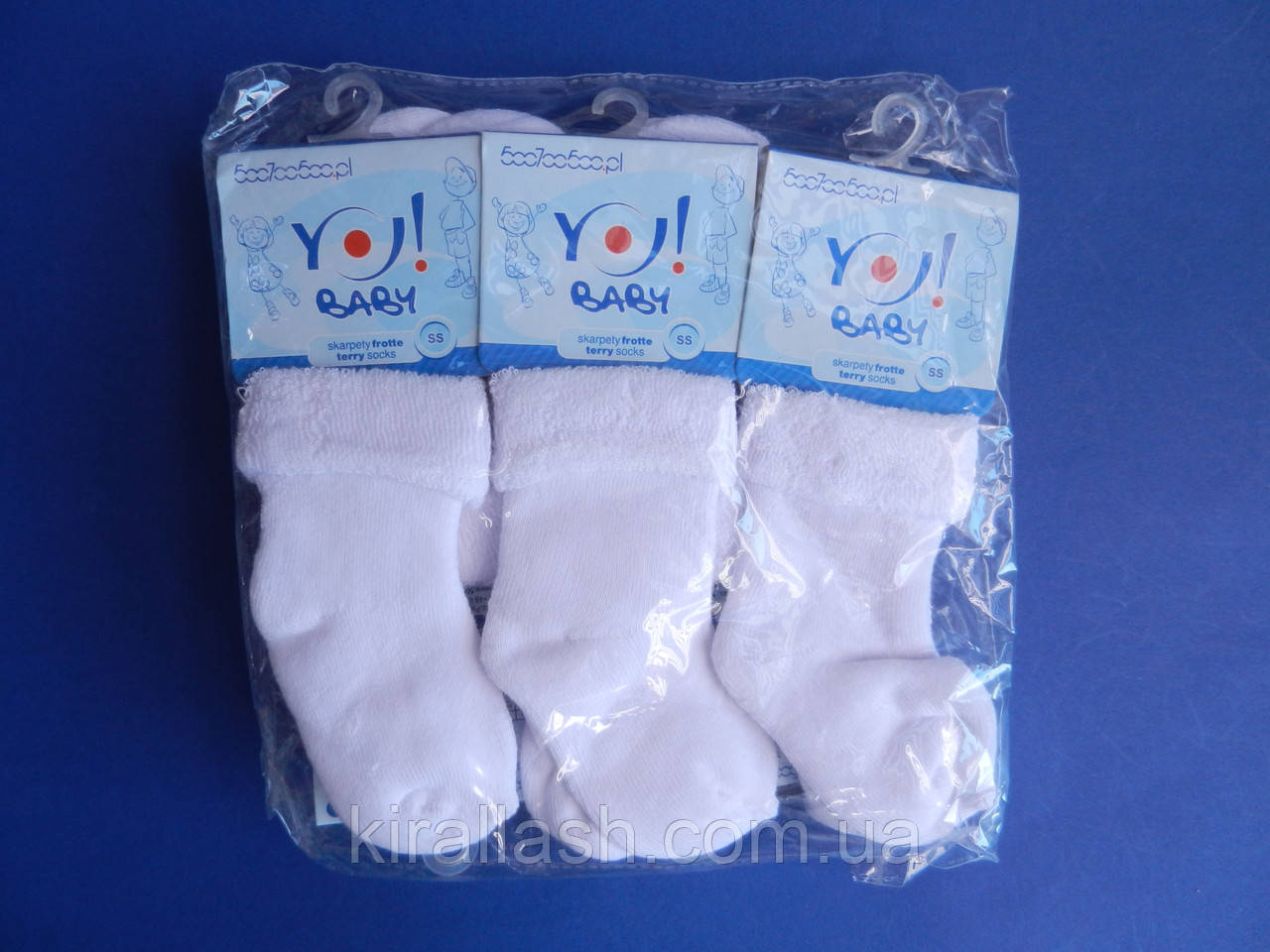 """Носки (SS 0-6 месяцев) махровые для девочек/мальчиков """"YO SCORPIO"""" Белые  ПОЛЬША"""