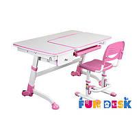 Парта для дома FunDesk Amare Pink с выдвижным  ящиком + Детский стул SST3 Pink