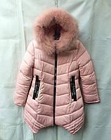 Полу-пальтопарка зимнее подростковоедля девочки 8-12лет,пудровый цвет с мехом