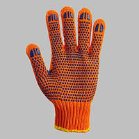 Трикотажные перчатки с ПВХ точкой оранж.