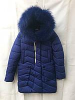 Полу-пальтозимнее подростковоедля девочки 10-14лет,темно синее с мехом