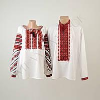 Пара вишиванок білого кольору з червоним орнаментом машинної роботи, фото 1