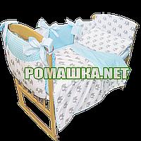 Комплект постельного белья для новорожденного 7 элементов с бортики подушечками одеяло 120х90 см 3766 Бирюзовы