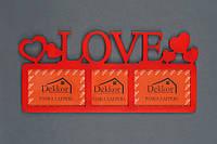 "Рамка ""  Love "" на 3 фото, красная"