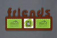 "Рамка "" Friends"" на 3 фото, коричневая"
