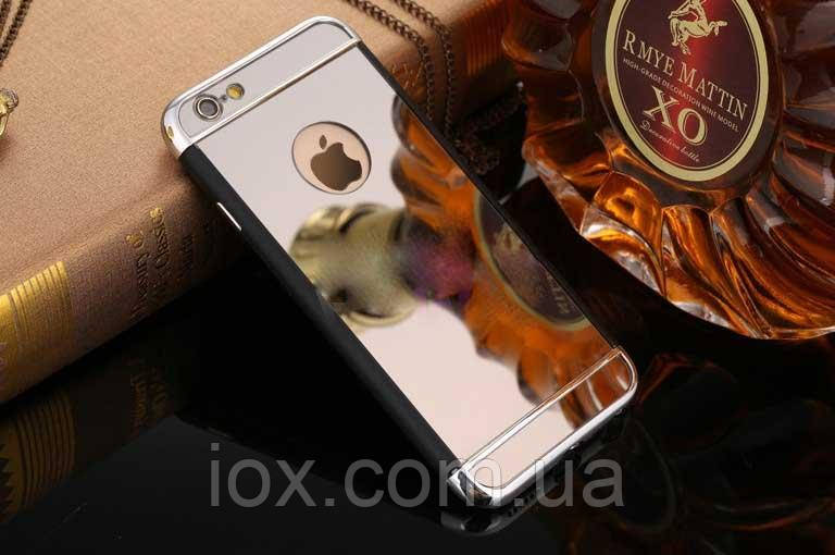 Зеркальный бампер-накладка для Apple iPhone 5\5S Серебристый металлик