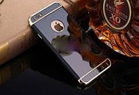 Зеркальный бампер-накладка для Apple iPhone 5\5S Черный с золотом
