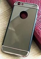 Зеркальный бампер-накладка для Apple iPhone 5\5S Черный с серебром