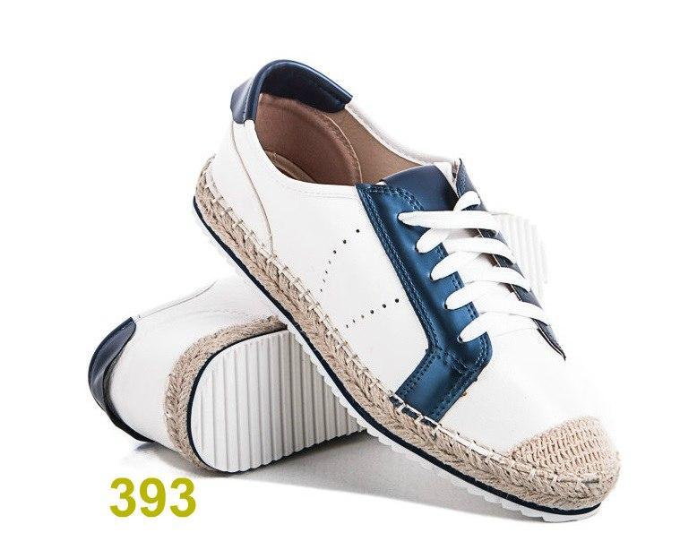 Женские кроссовки мокасины белые с синим