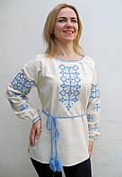 Эксклюзивная женская вышиванка Наталка на льне, вышивка сине-голубая