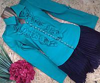 Блузка+пояс Лиза 10506  изумруд 42-48р