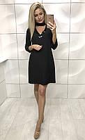 Женское красивое платье черное свободного кроя по колено