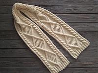 Вязаный шарф кремого молочного цвета, длинный вязаный шарф, шерстяной вязаный шарф, зимний женский шарф