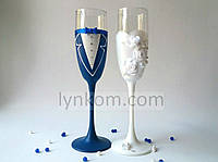 Бокалы свадебные  (2шт) цвет синий и белый