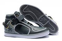 Кожанные мужские кроссовки  Adidas Adi-Rise Mid 04 серые