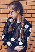 """Женская стильная кожаная куртка"""" Цветы"""""""