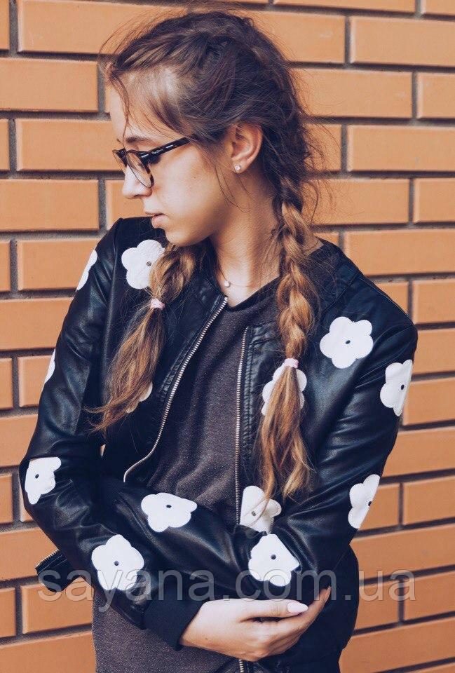 """Женская стильная кожаная куртка """"Цветы"""". БР-1-0819"""