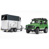 Bruder Джип Land Rover Defender с прицепом для перевозки лошадей + лошадка М1:16
