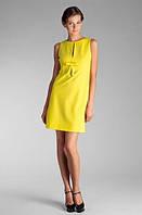 Платье трапеция с бантиком Влентино желтого цвета из натурального стретч коттона