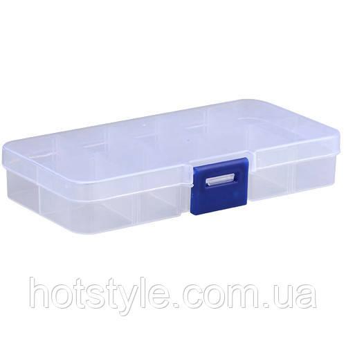 Коробка органайзер кейс для снастей пуговиц бисера 12.5х6.3см 10 ячеек