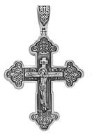 Серебряный крестик с молитвой Спасителю