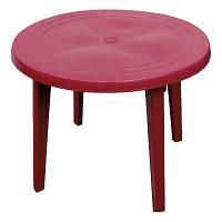 Стол пластиковый круглый 90 см вишневый