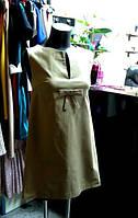 Платье трапеция с бантиком Влентино бежевого цвета из натурального стретч коттона