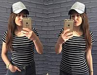Женская черная футболка  в полоску размер 42-46